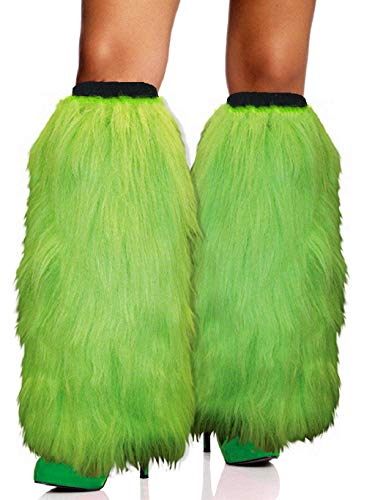 FHQHTH Fuzzy Faux Fur Leg Warmers Fur Heels Long Boots Cuff Cover has Elasticity One Pair [Green, Large]