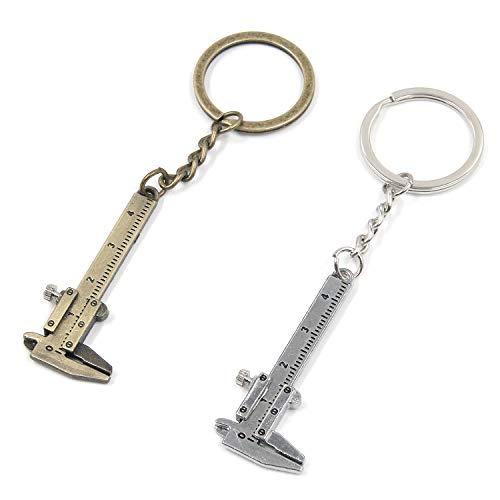 MTMTOOL Mini-Messschieber, Schlüsselanhänger, Zinklegierung, 3D, bewegliche Präzision, Taschenmessschieber, Schlüsselanhänger, 40 mm, Gold und Silber, 2 Stück