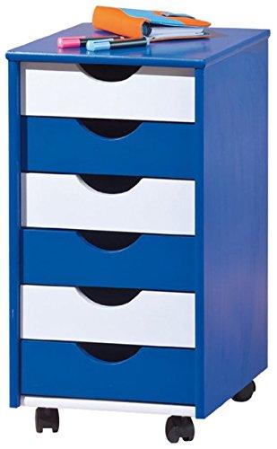 PEGANE Container pour Enfant Bleu/Blanc, Dim : L36 x P40 x H65 cm