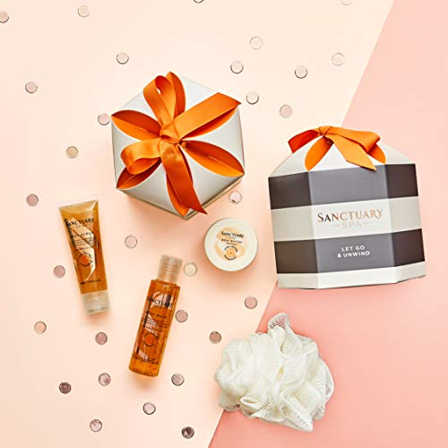 Sanctuary Spa Gift Set, Let Go and Unwind Gift Box with Shower Gel, Body Scrub and Body Butter, Beauty Gifts for Women