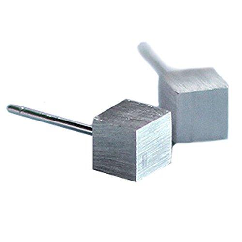Miya Pendientes elegantes de plata de ley 925 con forma de cubo.