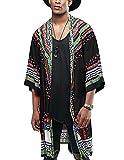 COOFANDY Mens African Dashiki Printed Ruffle Shawl Collar Cardigan Lightweight Long Length Drape Cape (L, B) Black