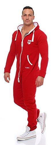 Gennadi Hoppe Herren Jumpsuit Onesie Jogger Einteiler Overall Jogging Anzug Trainingsanzug Slim Fit,rot,X-Large