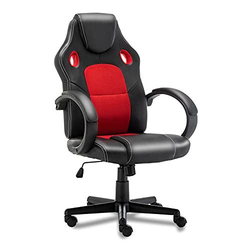 Silla de videojuegos, ergonómica, con respaldo alto, silla de oficina para el hogar, ajustable, de piel sintética, para adolescentes y adultos (roja)
