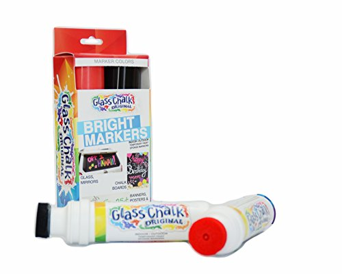 Glass Chalk the Original Patented Indoor/Outdoor Temporary Paint Marker for Auto Windows and Surfaces, Black and Red, 2 Piece