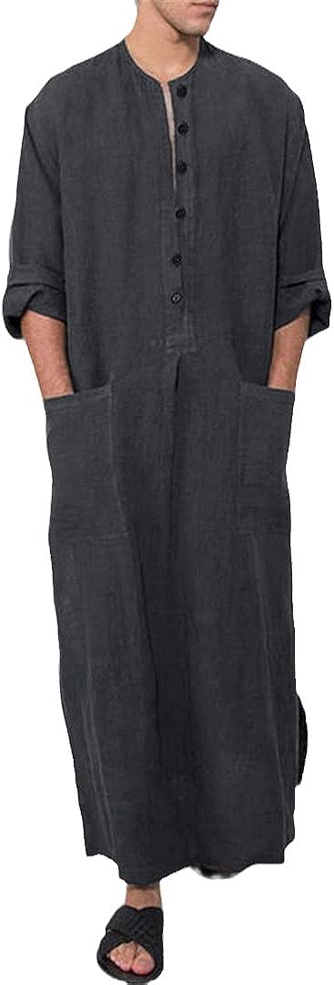 Vintage Men Islamic Arabic Long Sleeve Solid Pockets Robes Arabia Muslim Kaftan
