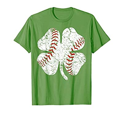 Baseball St Patricks Day Boys Men Catcher Pitcher Shamrock T-Shirt
