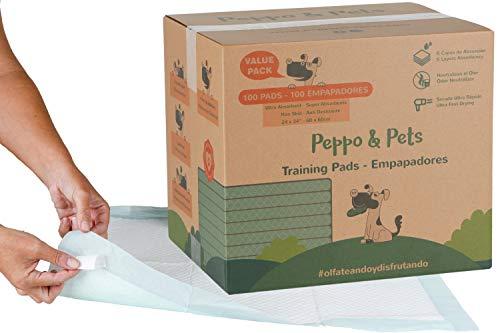 Peppo and Pets -100 empapadores para Entrenar Cachorros - empapadores para Perros - 6 Capas - Súper absorbentes- 60 cm x 60 cm- Secado rápido