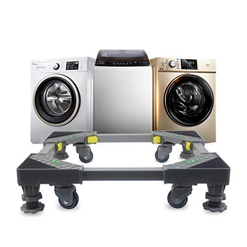 Grandekor Waschmaschine Sockel Untergestell mit 4 Füßen + 4 Räder für Waschwaschine, Kühlschrank und Trockner, Verstellbare Waschmaschinensockel mit Rutschfester Stoßdämpfungsfunktion(43-60)