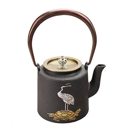 XHCP Tetera cerámica tradicional de hierro fundido Tetera estilo japonés retro tetera de té set de fondo plano para estufa de carbón de inducción de inducción de 1,4 l