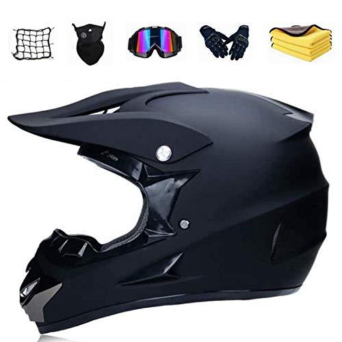 YYSY Motorrad Crosshelm Schwarz Motocross Helm Set,Downhill Enduro Helm Integralhelm,Fullface MTB Helm Ausdauerhelm Sicherheit Schutz für Motorrad Kinderquad und Crossbike (XL 58-59CM)
