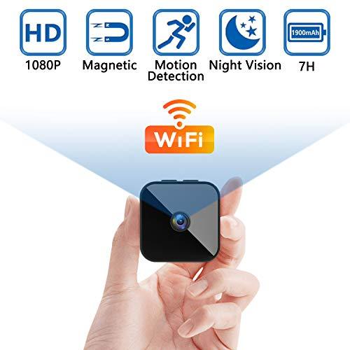 Überwachungskamera Mini Kamera 1080P Videorecorder Tragbare WLAN Netzwerk Klein IP Kamera P2P Drathlos mit Bewegungsmelder, App Steuerung für Drinnen/Draußen
