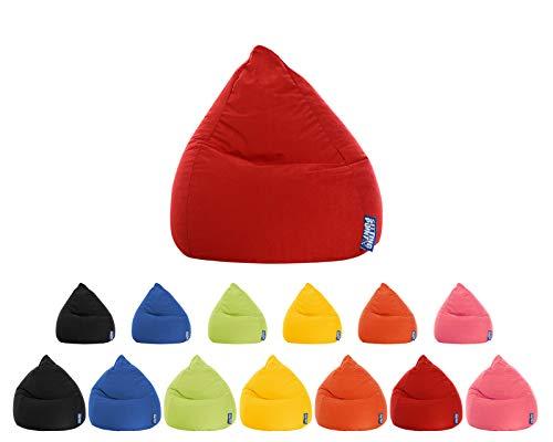lifestyle4living Sitzsack für Kinder und Jugendliche, Rot, Microfaser Bezug | Pflegeleichter und bequemer Beanbag Easy L Liegesack 120l