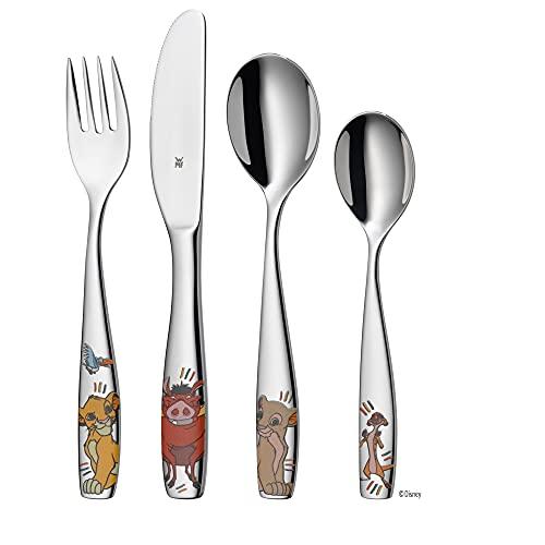 WMF Disney El Rey León - Cubertería para niños 4 piezas (tenedor, cuchillo de mesa, cuchara y cuchara pequeña) (WMF Kids infantil)