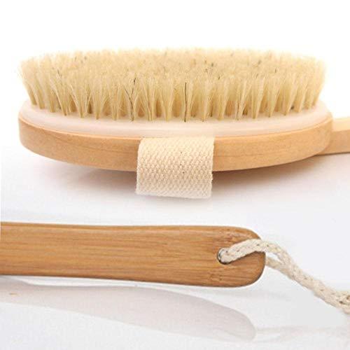 Holzdusche Duschborstenbürste Spa Trockene Haut Körperbürste Naturborstenbürste Softgriff Tasche Spa Bürste