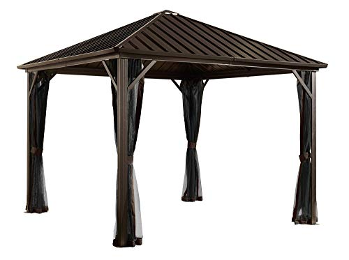 Sojag 8' x 8' Dakota Hardtop Gazebo Outdoor Sun Shelter, Black, Brown