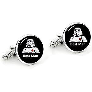 Kooer Classic Wedding Cufflinks Personalized Star Cuff Links Jewelry Gift for Groom Best Man Groomsman Bridesman