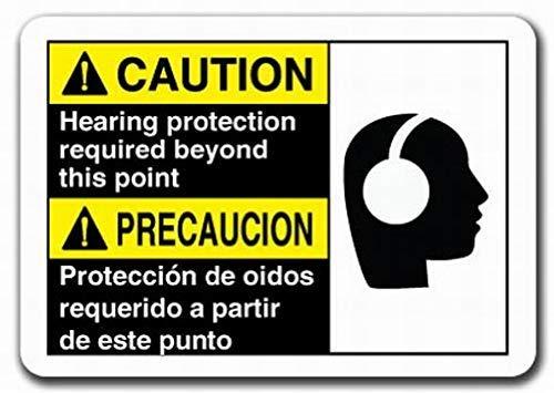 cwb2jcwb2jcwb2j Metalen bord Garage Voorzichtigheid Teken Voorzichtigheid Gehoorbescherming Vereist Buiten Dit Punt Tweetalig Spaans Veiligheidsbord Voorzichtigheid Waarschuwing Teken Tin Metalen Decor Teken Kwaliteit Aluminium (Set Van 1)