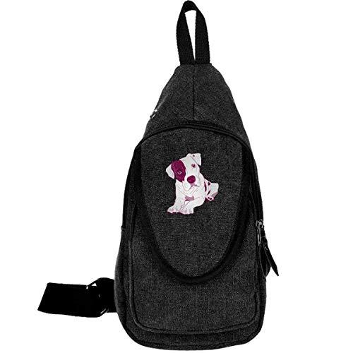 Pitbull Clipart Cute Canvas Chest Bag für Walking Reisen Diebstahlsicherung Rucksack für Männer Frauen Kaffee