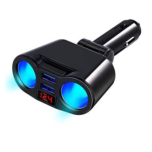 QQINGZHANG Cargador de automóviles 3.1A 2 puertos Encendedor encendedor de cigarrillos Splitter Plug LED Pantalla Fast Cargador Adaptador Ajuste para iPhone Coche Accesorio ( Color Name : BLACK )