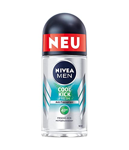 NIVEA MEN Cool Kick Fresh Deo Roll-On (50 ml), Deodorant schützt 48h gegen Schweiß und Körpergeruch, Anti-Transpirant mit Kaktuswasser und leichter Formel