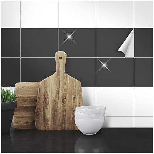 Wandkings Fliesenaufkleber - Wähle eine Farbe & Größe - Anthrazit Glänzend - 15 x 20 cm - 50 Stück für Fliesen in Küche, Bad & mehr