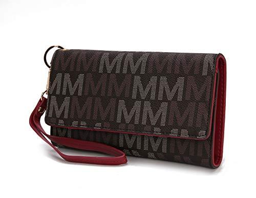 Mia K. Collection Cellphone Handbag for Women Wallet Wristlet, Multi Pocket Clutch Purse PU Leather Signature Bag (Red Gail)