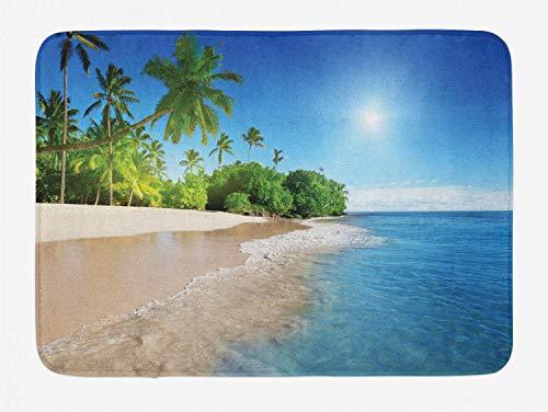 AJOR - Alfombrilla de baño azul, diseño de palmeras tropicales en Sunny Island Beach Escena panorámica, felpa, decoración de baño con respaldo antideslizante, 59,6 x 39,9 cm