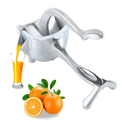 Homend Heavy Duty Single Press Aluminium Lemon Squeezer, Hand Press Fruit Juicer, Manual Press Juicer (Silver)