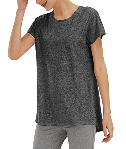 SPECIALMAGIC Women's Sports T-Shirt Basic Yoga Top Short Sleeve Workout Training Shirts Activewear Clothes Black Grey M