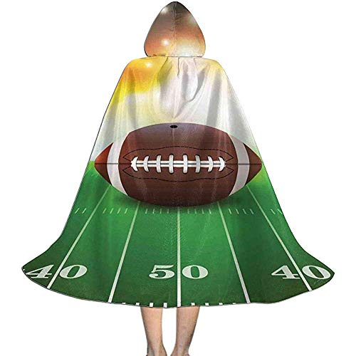 Rexing Cape Mantel mit Kapuze American Football Ball Auf Gras Sport Unisex Kapuzenmantel Mantel Hexe Robe Cape Lange Halloween Cosplay Party Mantel