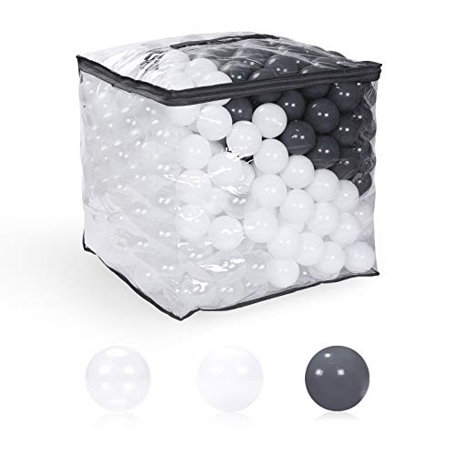 GOGOSO Plastic Play Pit Balls - Pack of 500 Phthalate Free BPA Free Crush Proof Ball for Toddlers Girls Boys Home Outdoor, 2.36 inches, Color White Gray Clear