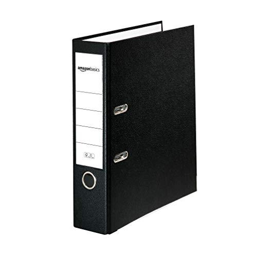 AmazonBasics – Aktenordner, Polypropylen-Kaschierung, Einschubfach am Rücken, FSC-zertifiziert, A4, Rücken 80mm breit, 10Stück, Schwarz