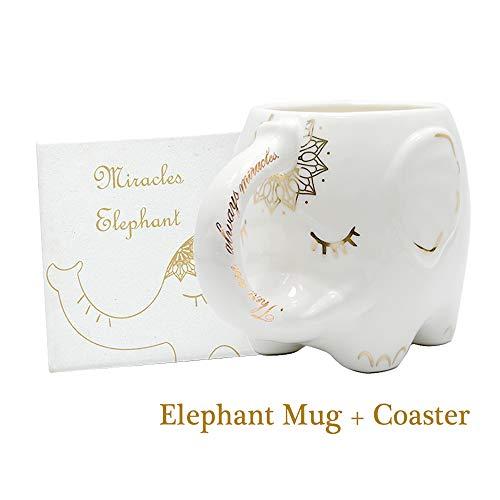 Elefant Kaffee tasse mit Untersetzer süße weiße Keramik teebecher Milch Tasse handbedruckte Designs und gedruckte Spruch großes Geschenk große handgefertigt für Büro 400ml 14oz
