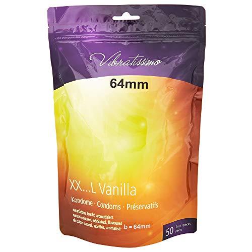 AMOR Vibratissimo 50 Premium condoome, voelt echt en precies op maat gesneden op de individuele grootte 64 mm (50 Stück) 50 stuks vanille