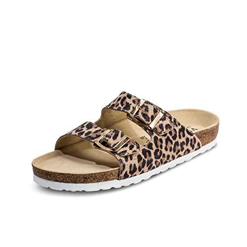 VITAFORM® Damen Pantolette Sandale Echt Leder Mit Naturkork – Bequemer Hausschuh Mit Luftpolsterfußbett (Leopard, Numeric_39)