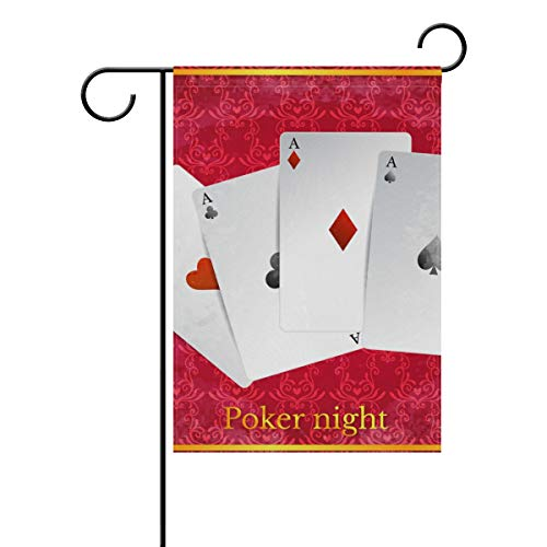 LINDATOP Drapeau de Jardin en Polyester Motif Casino Royal 30,5 x 45,7 cm, Polyester, Multicolore, 12x18(in)