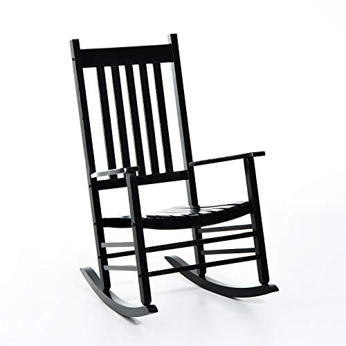 Outsunny Versatile Wooden Indoor/Outdoor High Back Slat Rocking Chair - Black