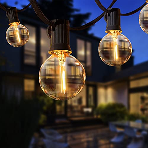 Guirnaldas Luces Exterior, TOGAVE 9.5m Guirnaldas Luminosas de Exterior IP44 Impermeable 25 LED G40 Bombillas y 4 Bombilla de Repuesto Luces Decorativas para Jardín,Terraza, Patio - Blanco Cálido