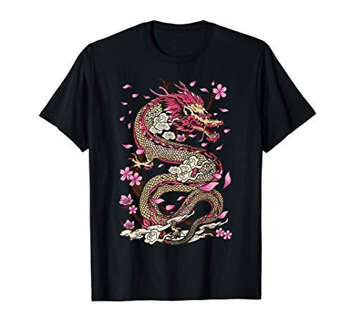 Dragon Japanese Mythology Sakura Japanese Dragon T-Shirt