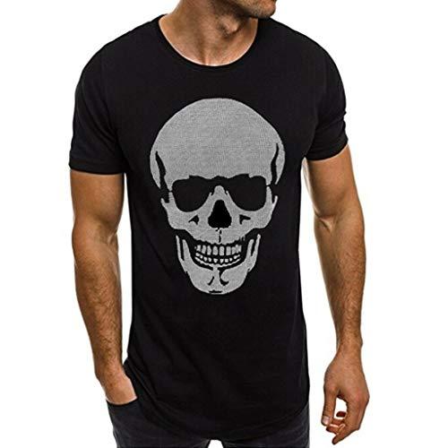MEIbax Explosión Impresión del cráneo de la Moda Camiseta de Hombre Cuello Redondo Casual Verano Fitness Ropa Deportiva Hombres Camisa de Hombre Jersey