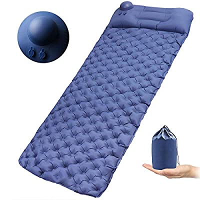 xhlife Self-Inflating Camping Pads, Inflatable Sleeping Pad with Pillow, Ultralight, Compact, Portable Bed Mat for Travel, Hiking, Backpacking, Tent, Hand Press Inflating Folding Air Mattress