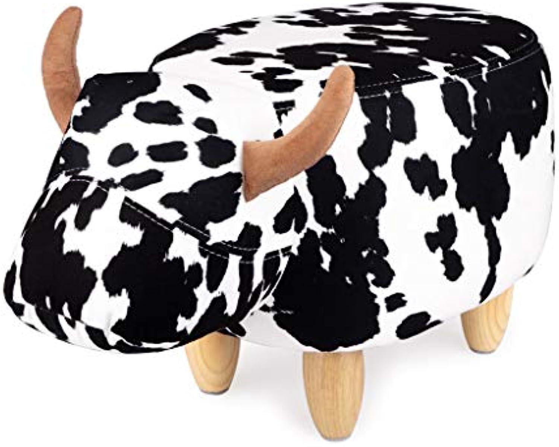 Balvi Hocker La Vache Farbe Schwarz Wei In Form Einer Kuh Holzbeine Polyester Holz