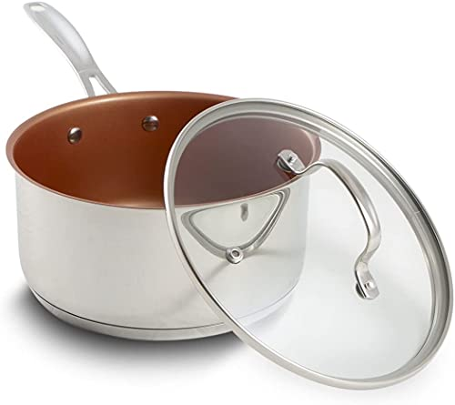 Nuwave 1.5 Quart Stainless Steel Nonstick Saucepan with Lid