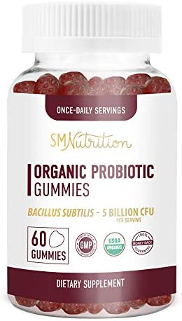 Organic Probiotic Gummies for Adults and Kids 60 Count 5 Billion CFU Bacillus Subtilis Probiotics product image