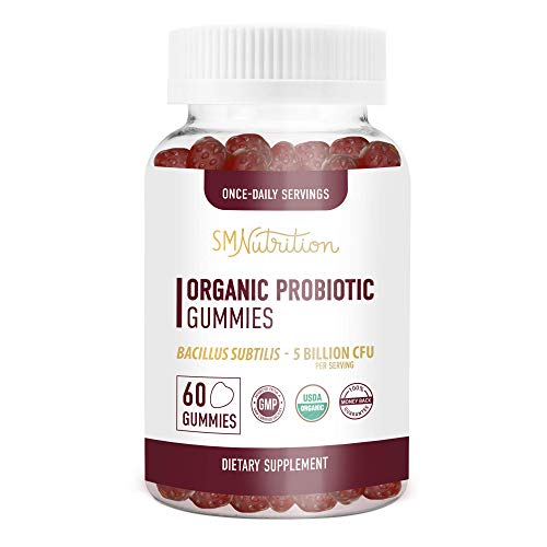 Organic Probiotic Gummies for Adults and Kids (60 Count) - 5 Billion CFU Bacillus Subtilis Probiotics Gummies for Immune Support* & Digestion*; Strawberry Probiotics Chewable Gummies