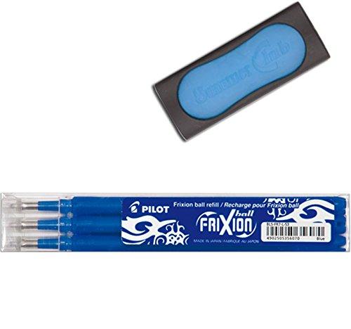 Pilot Frixion Tintenroller-Ersatzminen radierbar (3 Ersatzminen plus 1 Radierer, blau)