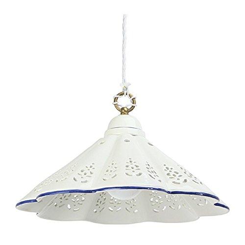 Lustre en céramique plat plissé dentelle bord de pays-vintage - Ø 39 cm - Bianco (nessun decoro)