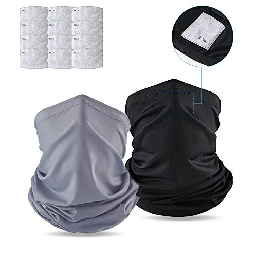 Neck Gaiters with carbon filter For Men and Women, Bandana, UV Proof (14 pcs) (Black Grey)