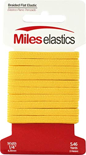 Miles Elastic Braided Flat Elastic 1/4' (6,35 mm) by 5,46 Yards(5 Meter) -Yellow   Strong Elastic/Machine Washable and Dryable   Oeko-TEX certificated